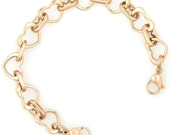 Ladies- Girls Medical ID Rose Gold Stainless Open Heart Interchangeable Bracelet - 3 Sizes!