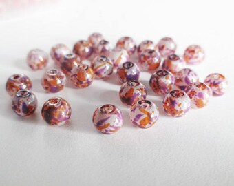 20 painted white speckled purple and orange glass beads 6mm