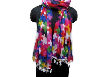 Tassel scarf/ multicolored scarf/  light weight scarf/ chiffon scarf/ fashion  scarf/ gift scarf / gift ideas.