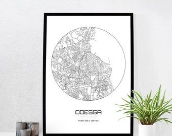 Odessa Map Print - City Map Art of Odessa Ukraine Poster - Coordinates Wall Art Gift - Travel Map - Office Home Decor