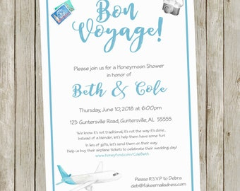 Printable Honeymoon Shower Party Invitations, 5x7, Personalized, Honeyfund