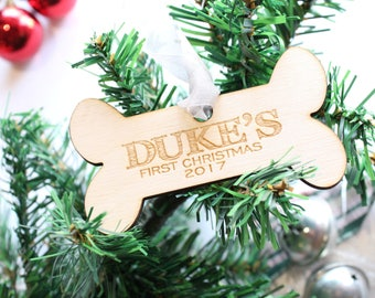 Custom Dog Ornament, Gift for Dog Lovers, Personalized Dog Ornament, Dog Bone Ornament, Puppy's First Christmas, Dog Name Ornament