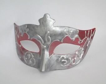 Masquerade Mask Red & Silver Women's Domino Venetian Costume Mask