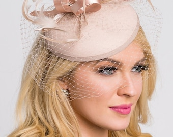 """Nude Fascinator - """"Juliet"""" Nude Round Felt Sinamay Hat w/ Feathers and Satin Ribbons"""