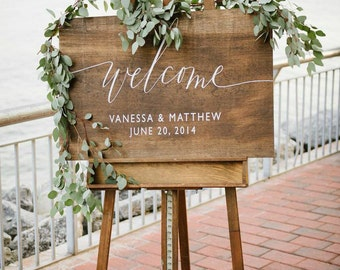 Wedding signs custom wedding signs and by sweetnccollective wooden wedding welcome sign with names and date rustic wedding welcome signage wood wedding junglespirit Choice Image