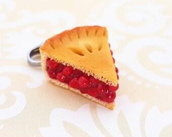 Cherry pie slice charm - Polymer clay pie earrings -  Miniature food jewelry - Pie Necklace - Polymer Clay Cherry Pie Ear Studs