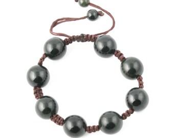 Canadian Nephrite Jade Bead Bracelet, 15mm