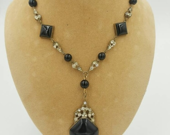 Art Deco Czech Glass Necklace Black Glass and Rhinestones
