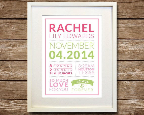 Baby birth art baby statistics printable download baby like this item negle Gallery
