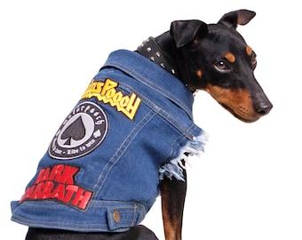 Denim Dog Jacket /  Denim Dog Vest / Dog Jacket / Dog Vest / Dog Coat / Dog Battle Jacket / Cool Dog Jacket / Designer Dog Coat