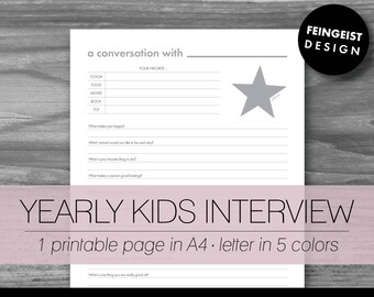 YEARLY KIDS INTERVIEW. Printable Pages/Planner Inserts. 5 Colors in 2 Sizes. Instant Download. Letter - A4