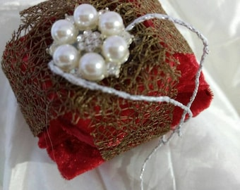Christmas decoration Red gold velvet parcel
