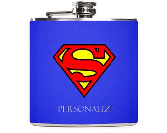 Superman Flask, Blue Superhero Flask, Gift for Men, Guys Gift, Personalized, Stainless Steel 6oz Hip Flask