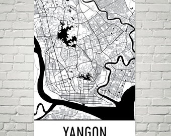 Yangon Map, Yangon Art, Yangon Print, Yangon Myanmar Poster, Yangon Wall Art, Map of Yangon, Yangon Gift, Yangon Decor, Yangon Map Art Print