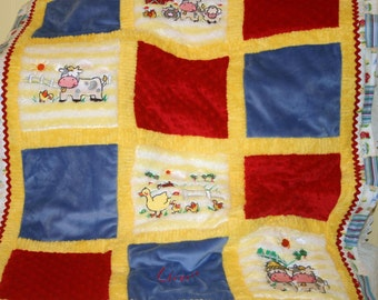 """Baby Blanket Personalized  Appliqued Minky """"Adorable Farm"""""""