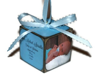 Baby's First Christmas Ornament   Personalized photo keepsake   Square wooden block   Baby's 1st Christmas   Our first Christmas