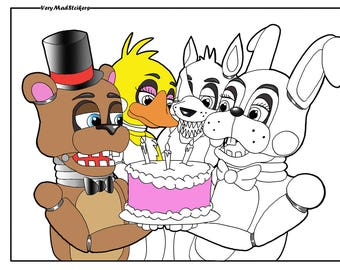 Five Night's at Freddy's (FNAF) Birthday Party Colouring Page