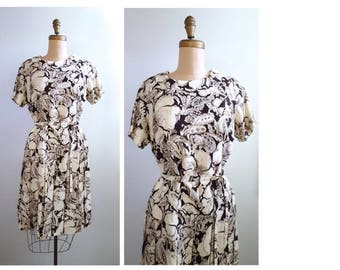 Flirty Floral | 1960s brown and white floral dress | 60s drop waisted dress
