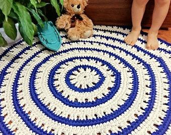 blue Rug, white Rug, crochet doily, sea style, Crochet Rug - Babyroom  Rug - Cotton Rag Rug - Children Crochet Rug - Knit Rug, Vintage Rug
