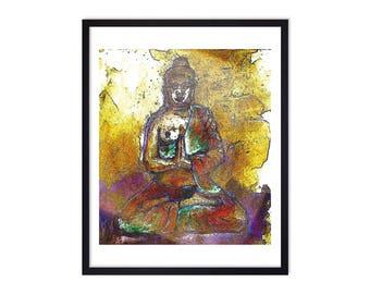 Buddha Art Print Golden Buddha Buddha Print - Buddha Art Prints - Zen Art Prints - Meditation Art - Spiritual Wall Art