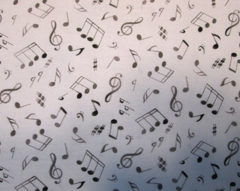 Wild Music Notes Black White Cotton Fabric Fat Quarter or Custom Listing
