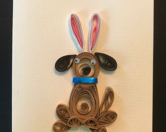Quilled dog with bunny ears wishes you a happy easter