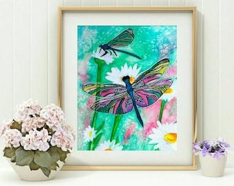 Dragonfly Decor - Teacher Christmas Gifts - Dragonfly Art - Dragonfly Print - Daisy Art - Daisy Painting - Dragonflies Artwork - Daisies Art