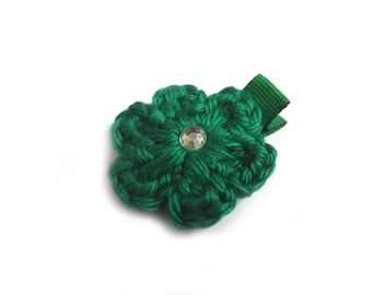 Kelly Green Hair Clip Crochet Flower Hair Clip Green Barrette Baby Girl Hair Clip Baby Hair Clip Toddler Girl Spring Hair Clip Summer Clip