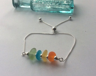 Sea Glass Bracelet, Sterling Silver Rainbow Sea Glass Bracelet, adjustable bracelet