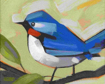 Robin painting, bird art, original bird art, original bird painting, Blue Robin, small painting,Blue Robin painting