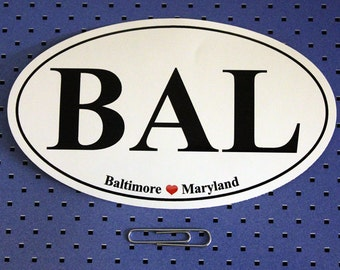 Baltimore Maryland (BAL) Oval Bumper Sticker