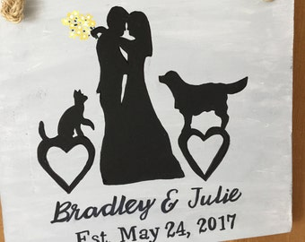 Bride and Groom pets, Dog, Cat, Pet Lovers, Can be two dogs, two cats or one pet, Personalized, wedding gift, bridal shower gift