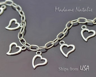Silver Heart Charms (12), Tibetan Silver Hearts, Open Heart Charm, Heart Connector, Double Sided Heart , Valentine's Day Charm, Open Design
