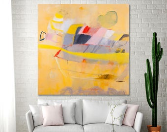 ABSTRACT PAINTING Print Yellow Canvas print Large Painting up to 40x40 Modern fun bold fresh wall art by Duealberi