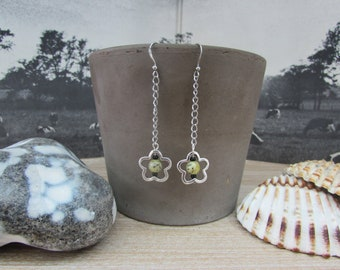 """Silver earrings flowers and gray-green natural stone """"Spring"""""""