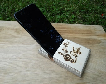 Wooden cell phone holder wood music notes Fire painting Pyrography