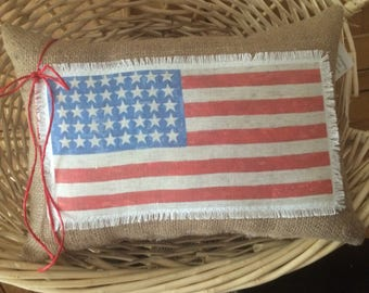 Patriotic themed 4th of July Burlap pillow~American flag~Americana~Shabby Chic~Farmhouse~4th of July decor~Red White Blue~Burlap pillows