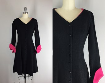 1960s Vintage Fit and Flare Dress / 60s Boucle Dress with Contrasting Flared Cuffs