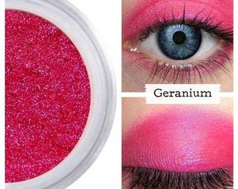 Bright Pink Eyeshadow, GERANIUM, Pink Eye Shadow, Bright Pink Eye, Cosplay Makeup, Neon Pink, Magenta, Natural Pink Eyeshadow, Bright Pink