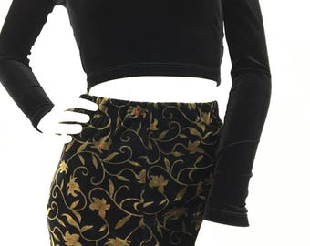 90s vintage stretch velvet midi/1990s black velvet skirt/stretch velvet floral midi skirt