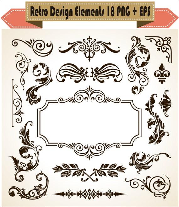 European Pattern Decor Vintage Decorative Floral Elements Border Corner Retro Vector Clipart PNG EPS Scrapbook Clip Art Instant Download