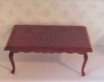 Dollhouse Table,  mahogeny stained, twelfth scale miniature, dollhouse dining table