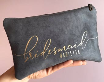 Personalized Gift. Bridesmaid Makeup Bag. Suede Clutch Bag. Bridal Party Gifts. Custom Makeup Bags. Be My Bridesmaid. Wedding Party Gifts