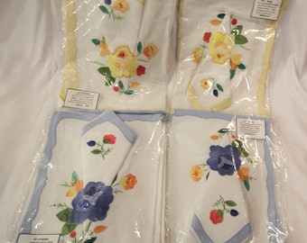 Set of Appliqued/Embroidered French Linen Placemats & Napkins