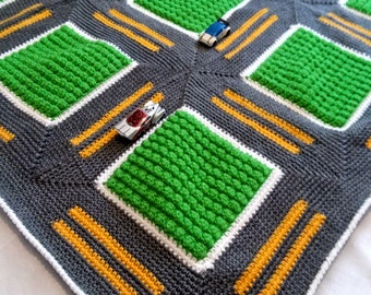 Crochet Road Blanket, Roadway Throw Playmat, Racetrack Blanket, Crochet Rug, Kids Room Decor, Ready to Ship Gray and Green Blanket