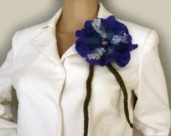 Felt flower brooch Felt pin brooch Pin felted corsage Felted brooch Flower brooch Felt flower pin Rustic felt flower Gift for her Fiber art