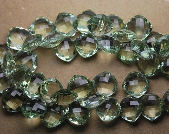 4 Match Pair, Super Rare AAA Natural GREEN AMETHYST Faceted Cushion Shape Briolettes Calibrated Size 14mm