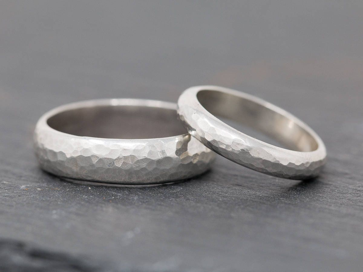 Sterling Silver Wedding Ring SetTextured Sterling Silver Wedding