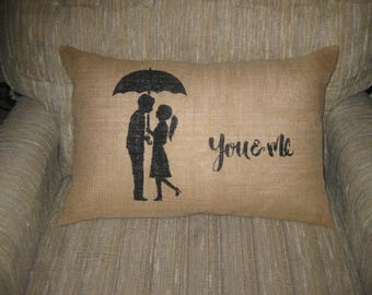 You & Me - Burlap Pillow Cover - 12x18 - Shabby chic, french country home decor