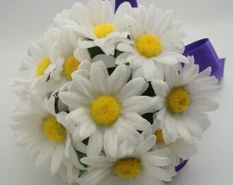 White Shasta Daisy Wedding Bouquet, Marguerites Flower Posy, Bridesmaid Gift and Decoration